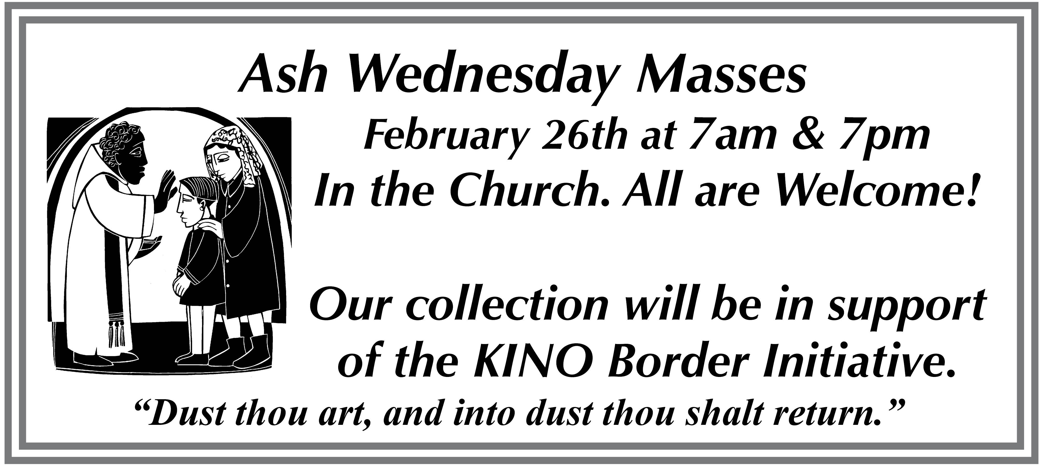 Ash Wednesday Schedule 2020